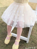 蓬蓬裙女童春秋裝圓點網紗裙2020新款寶寶夏款短裙兒童公主蓬蓬紗半身裙 1件免運
