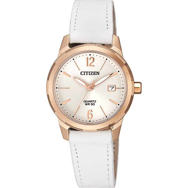 【送米奇電扇】CITIZEN 星辰 限量優美石英女錶-玫瑰金框x白/28mm EU6073-02A
