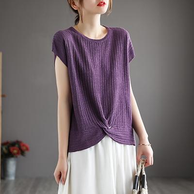針織棉坑條復古短袖T恤 純色下擺打結寬鬆套頭針織衫/9色-夢想家-0329