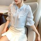 短袖雪紡衫女洋氣短袖春夏條紋襯衫很仙的心機上衣設計感T624紅粉佳人