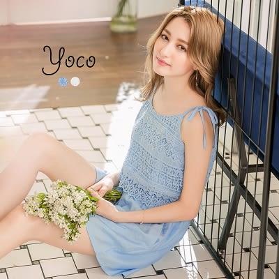 東京著衣【YOCO】氣質綁帶蕾絲拼接連身褲-S.M.L(171052)