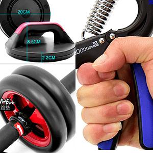 手控式煞車健美輪+旋轉伏地挺身器+調節握力器(10~40公斤)健腹機健腹器.健腹輪伏地挺身盤