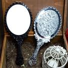 美容院化妝鏡復古韓國紋繡手柄鏡便攜隨身手持折疊桌面臺式小鏡子 韓國時尚週