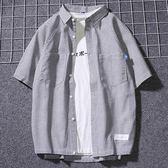 日繫寬鬆半袖條紋襯衫男夏季短袖青少年潮牌文藝港風襯衣韓版清新