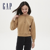 Gap女裝 簡約半開襟亨利領上衣 626841-駝色
