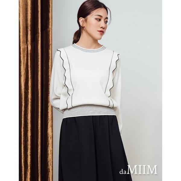 【南紡購物中心】daMIIM俏麗花邊造型配色針織上衣(共二色)