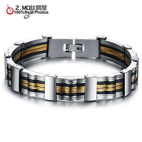 [Z-MO鈦鋼屋]鈦鋼矽膠手環/時尚金色造型/特別款式/約會手環配件單件價【CKS814】