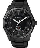 CITIZEN Eco-Drive 時尚都會大三針腕錶-IP黑 AW1284-51E