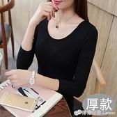 莫代爾打底衫長袖女秋冬裝厚款圓領低領修身緊身大碼黑色t恤上衣