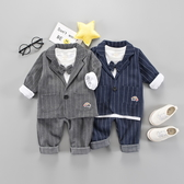 兒童0男童西裝套裝三件套1-3歲男寶寶春秋裝4男寶禮服小童小西服 小宅女
