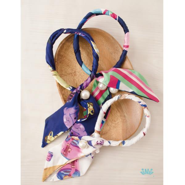 viNvi Lady 氣質緞帶珍珠墜飾盤髮器 髮圈 髮飾 海綿寶寶 丸子頭
