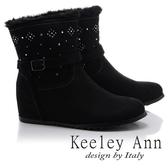 ★2017秋冬★Keeley Ann暖心冬季~絨毛滾邊水鑽點綴內增高短靴(黑色)