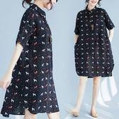 初心 棉麻 洋裝 【D1731】 DOGGY 翻領 開扣 寬鬆 短袖 襯衫 輕薄 襯衫洋裝