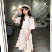 女裝韓版復古百搭娃娃領洋裝女學生夏季短袖中裙子高腰  潮流前線