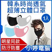 【3期零利率】全新 韓系時尚透氣超薄立體口罩 1入 過濾汙染 網紅同款 透氣佳 彈性高 舒適可水洗