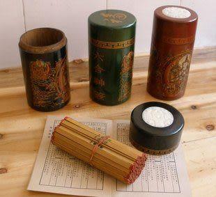古代求簽筒60支靈簽,仿古皮盒