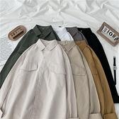 春秋季白襯衫女士韓版情侶純色襯衣外套港風長袖寬鬆上衣外穿百搭 寶貝計畫