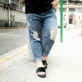 Miss38-(現貨)【A04023】潮流單寧破洞 中腰毛邊水洗 大尺碼牛仔褲 長褲- 中大尺碼女裝