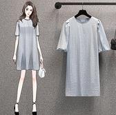 裙子長版衣休閒裙T裙L-4XL中大尺碼韓版遮肉顯瘦中長款連身裙兩件套R06B.5030胖妹大碼