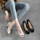 達芙妮甜馨網紗涼鞋女中跟夏季2021年新款高跟鞋魚嘴真皮粗跟女鞋