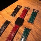 適用蘋果手表錶帶iwatch皮質鱷魚紋apple watch1/2/3/4代腕帶【橘社小鎮】