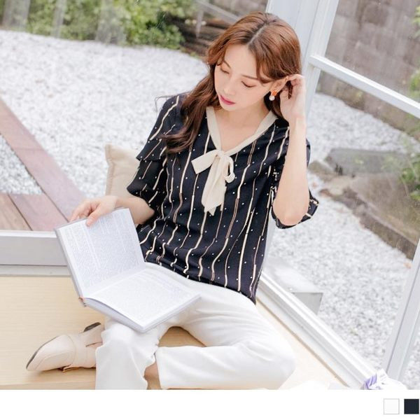 《AB10608》配色領結綁帶直條紋點點印花荷葉寬袖上衣 OrangeBear