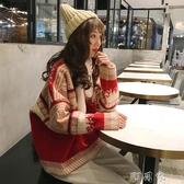 圣誕節主題毛衣女套頭森系寬鬆外穿網紅ins潮慵懶風秋冬加厚外套 盯目家