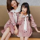 木耳滾邊娃娃領排釦連身洋裝母女親子裝(女童)
