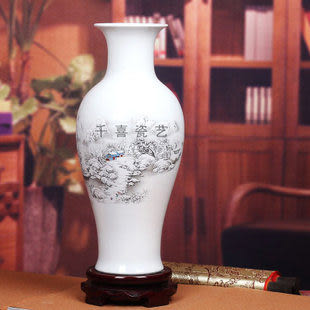 千喜景德鎮陶瓷器薄胎瓷粉彩花瓶魚尾瓶山水雪景圖簡