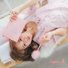 i PINK 清新甜夢 冰絲棉涼感連身裙居家服睡衣(粉底西瓜)