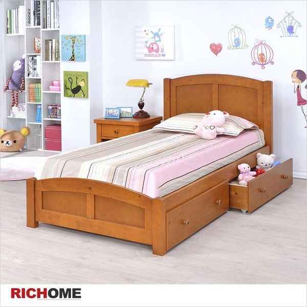 【RICHOME 】不可或缺的單人床架《喬安娜單人床附雙抽屜》