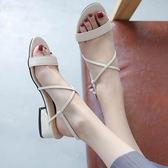 羅馬港風涼鞋新款女夏綁帶一字扣粗跟網紅高跟鞋氣質淑女中跟