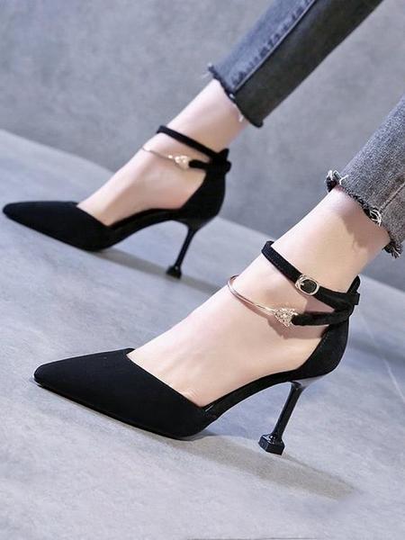細高跟鞋 2021春新款一字扣帶包頭涼鞋女法式少女尖頭仙女風細跟性感高跟鞋 非凡小鋪