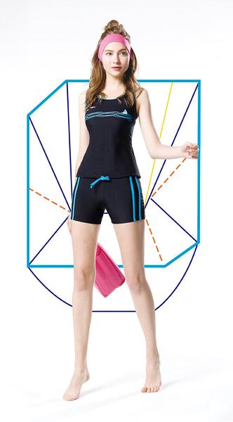 【K0373 】AGE BOAT世紀船特價款~運動風黑底藍配邊下襬抽繩二件式泳裝 贈泳帽 (有大尺碼)