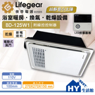 樂奇小太陽 BD-125W1 (110V) 線控型 浴室暖風機 小坪數專用暖風乾燥機(1~2坪)《HY生活館》