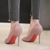 跟淺口單鞋伴娘紅色婚鞋 新款高跟鞋尖頭黑色工作鞋中跟女鞋裸色細CH885【俏美人大尺碼】