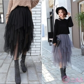 網紗裙 2020秋冬新款中長款高腰黑色紗裙百搭半身裙蓬蓬不規則網紗裙子女