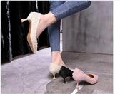 低跟鞋低跟鞋韓版尖頭淺口細跟百搭休閒學生貓跟單鞋瓢鞋女‧衣雅