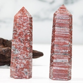 易晶緣天然水晶柱六角形單尖六棱柱芝麻紅家居風水桌面擺設飾物