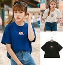 EASON SHOP(GU0524)韓國夏裝原宿BF學院風英國倫敦風學生半截袖圓領短袖t恤棉T藍色白色黑色單色女