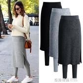 裙褲一體女外穿假兩件秋冬顯瘦韓版高腰大碼加絨加厚保暖打底褲 雙12購物節