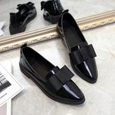 唐晶同款英倫風平底單鞋樂福鞋漆皮上班黑色工作鞋職業小皮鞋女秋 非凡小鋪