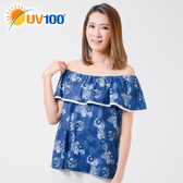 UV100 防曬 抗UV-荷葉造型一字領上衣-女