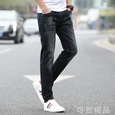 牛仔褲夏季牛仔褲男彈力薄款直筒韓版潮流修身小腳黑色休閒長褲子男 雙12全館免運