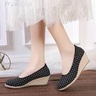春季新款21老北京布鞋女坡跟淺口牛筋底高跟單鞋女圓頭增高女鞋 快速出貨