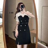 洋裝 假兩件拚接連身裙-媚儷香檳-【D1912】