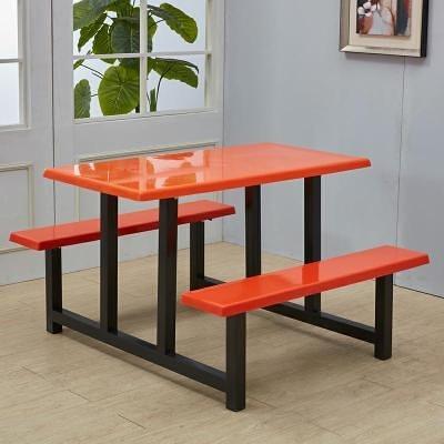 戶外桌椅 公司員工學生食堂餐桌椅組合4人6人8人位戶外連體快餐桌椅不銹鋼【萬聖夜來臨】