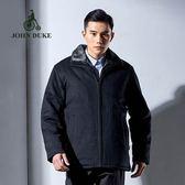 JOHN DUKE約翰公爵 經典優雅品味羊毛保暖外套 (灰黑色)