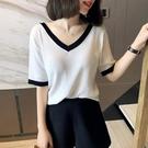 短袖冰絲針織衫新款2020夏季薄款寬鬆顯瘦氣質拼色V領t恤上衣女 范思蓮恩