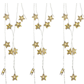 USB星星燈串-木藝五角星(黃光)